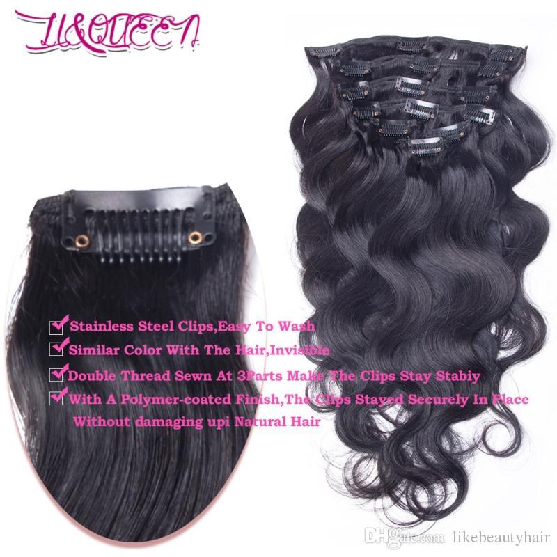 Clip mongol del pelo humano en extensiones del pelo Pelo negro natural de la onda del cuerpo 12-28 pulgadas del licor