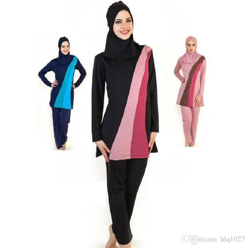 07b5c2b39e68d Wholesale 2017 Full Cover Up Womens Modest Muslim Swimwear Girls  Conservative Long Sleeve Islamic Swimsuit Bathing Suit Canada 2019 From  Hlq1027, ...