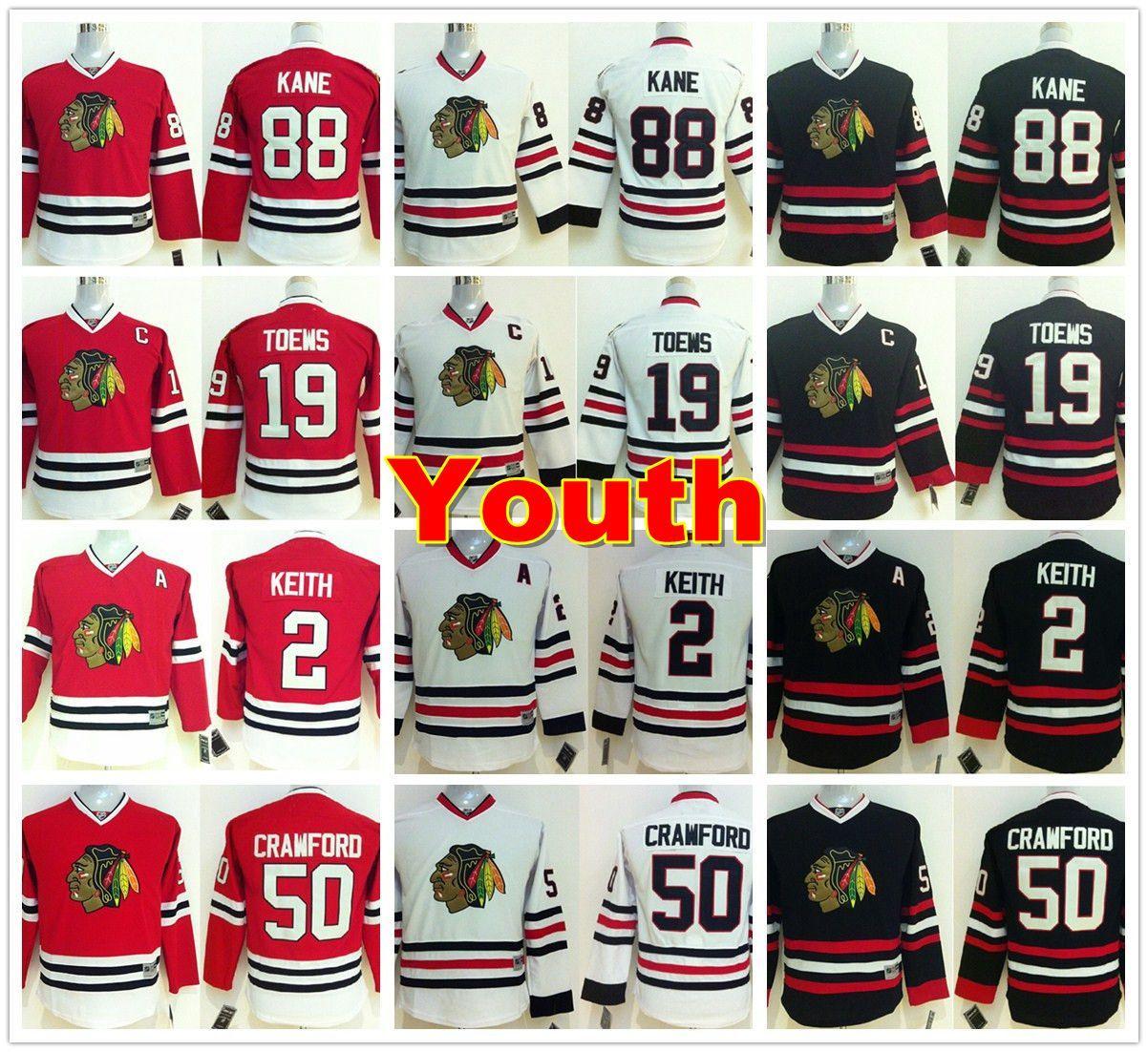 52ca5b2ba05 2019 Youth Chicago Blackhawks Jerseys 88 Patrick Kane 19 Jonathan Toews 2 Duncan  Keith 50 Corey Crawford Home Red White Kids Ice Hockey Jersey From ...