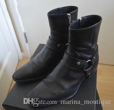 Klassische Wyatt Westernstiefel Männer Marke Stil Schwarz Leder Motorcylcle Stiefel Männer Herren Schuhe Herbst Winter 2017