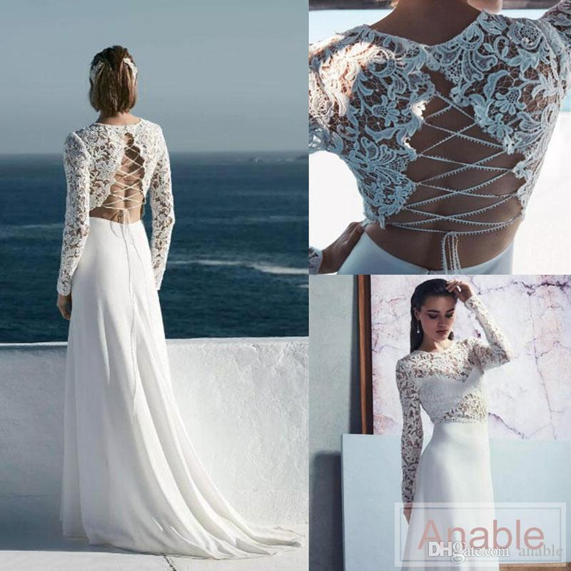 Discount Boho Unique Style Criss Cross Back Beach Wedding Dresses 2017 New Long Sleeve Full Lace Top A Line Bridal Gowns Custom Made Backless Dress