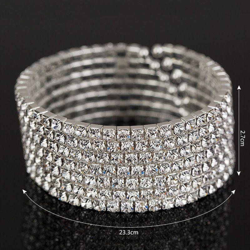 Braccialetto di strass di alta qualità braccialetto placcato nuziale braccialetti di fascino placcato braccialetti di cristallo 7 braccialetti di fila le donne