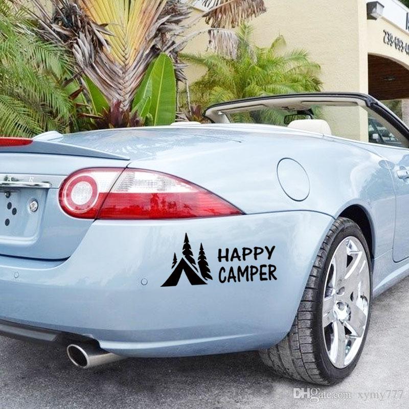 Sıcak Satış Mutlu Camper kamp Vinil Grafik Çıkartmaları Sticker İçin Araç Kamyon Yaratıcı Dekoratif Araba Şekillendirme Çıkartması Jdm