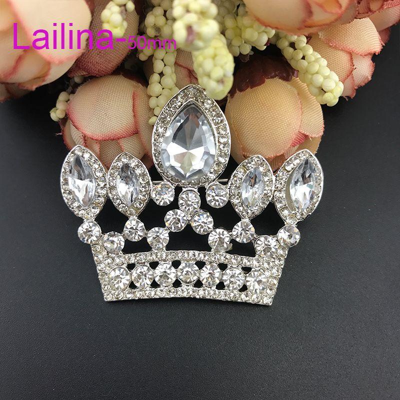 zinc alloy hot sale high quality 50mm Pink crown broach rhinestone tiara brooch pin