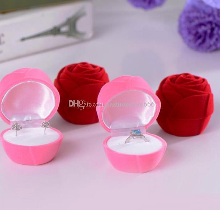 Niza caja de anillo de terciopelo suave Red Rose caja del anillo para la ocasión especial caja de regalo Día de San Valentín llevando casos