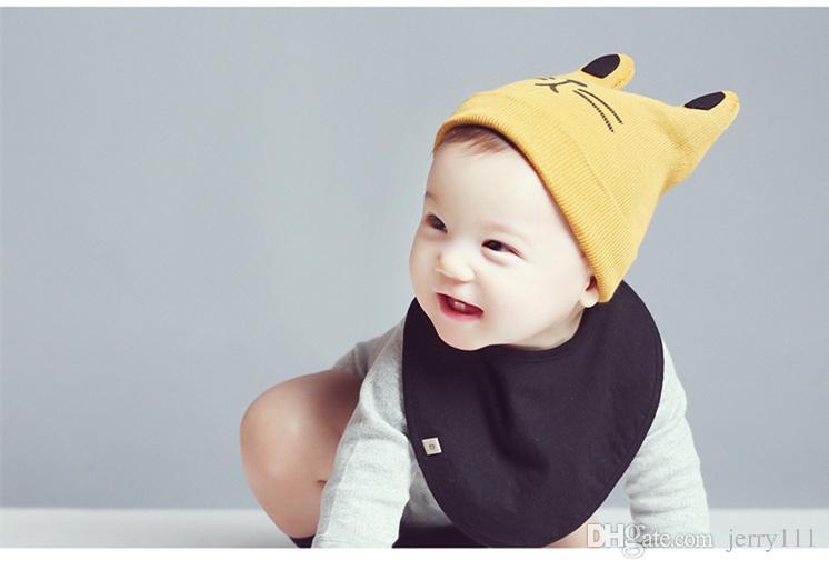 INS Baby gorros de dibujos animados Kitty Woolen Hilado Otoño Invierno Gorros de Punto Regalos de la Muchacha Sombreros Infantiles Orejas de Conejo Lindo Sombreros es LC645