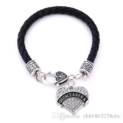 Leather Bracelet Word quinceanera bracelet For Men&Women Colorful Heart Necklaces Crystal Heart Lobster Clasp Jewelry