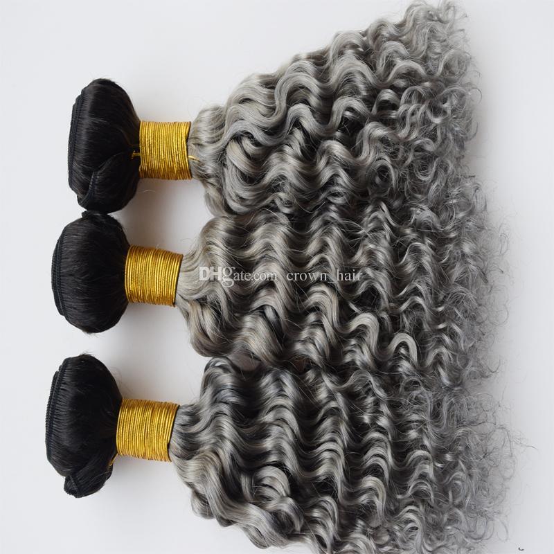옹 브르 색상 # 1B 그레이 딥 웨이브 컬리 말레이시아 9A 인간의 머리카락 번들 / 두 톤 다크 루트 슬라이 버 그레이 인간의 머리카락 확장
