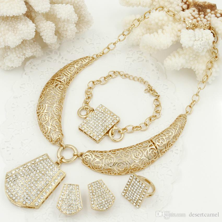 2018 Fashion Dubai Women Gold Jewelry Sets Italy Rose Hollow Pattern
