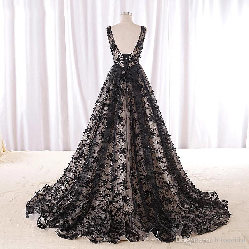 Saudi Arabia Black Floral Long Evening Dresses Backless Abendkleider Vintage Lace Evening Gowns Abiye Formal Party Dress