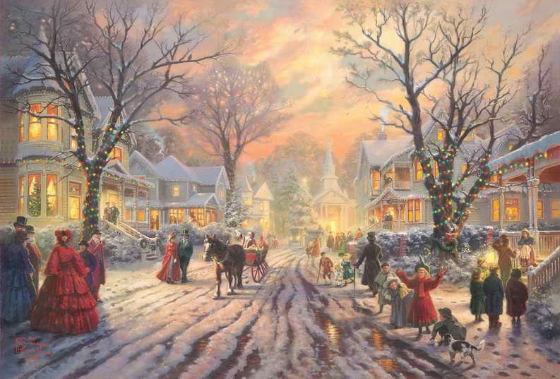 Immagini Natale Vittoriano.Acquista Un Carol Di Natale Vittoriano Thomas Kinkade Dipinti Ad