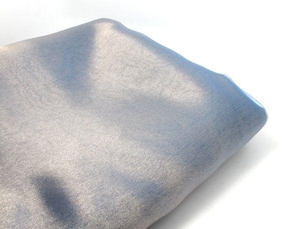 100*140cm Silver/ Blue Organza Fabric Shiny Sparkle Decorative Fabric Event Home Decor