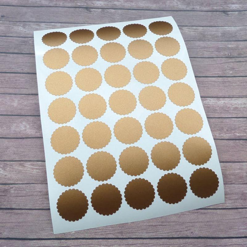 Perfect 70 Copper Envelope Seals/1 Inch Scalloped Round Stickers/Circle  DM45