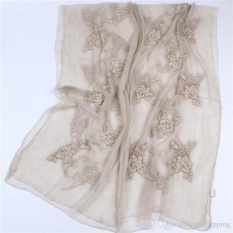 190 cm * 90 cm gerçek ipek krep eşarp uzun eşarp ince ve yumuşak çiçek nakış