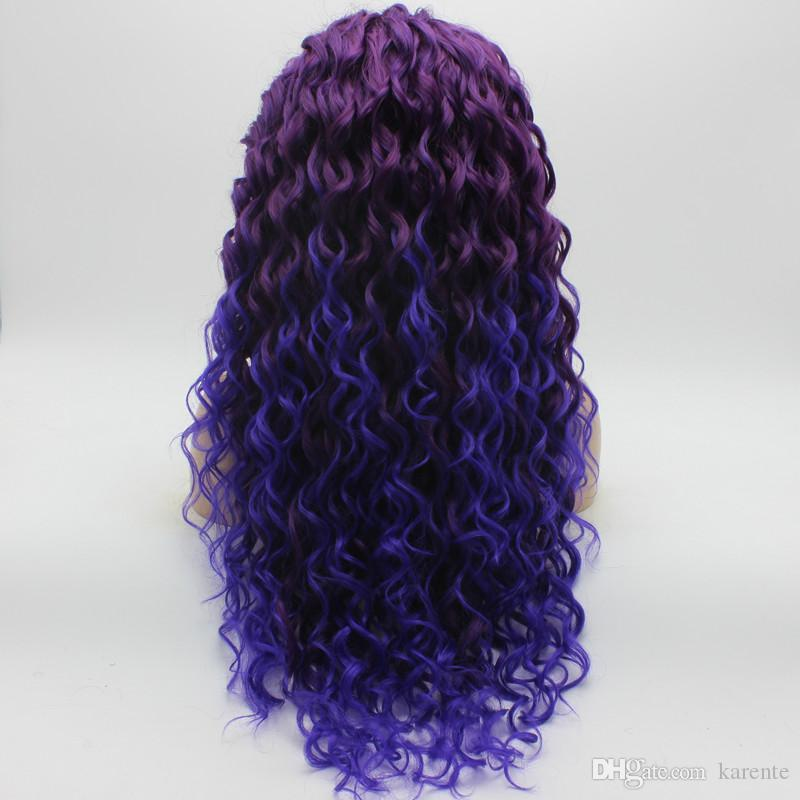 Iwona Hair Curly 긴 Purple Root Light Purple Ombre Wig 18 # 3700 / 3700L 반 손 묶여 내열 합성 레이스 앞 Wig