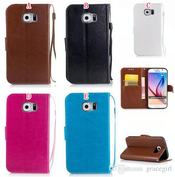 Strap Crazy Horse Wallet Leather Pouch Case For Samsung Galaxy S6 S7 Edge S4 S5 Grand Prime G530 Core G360 Core2 2 G355 Luxury Stand Cover