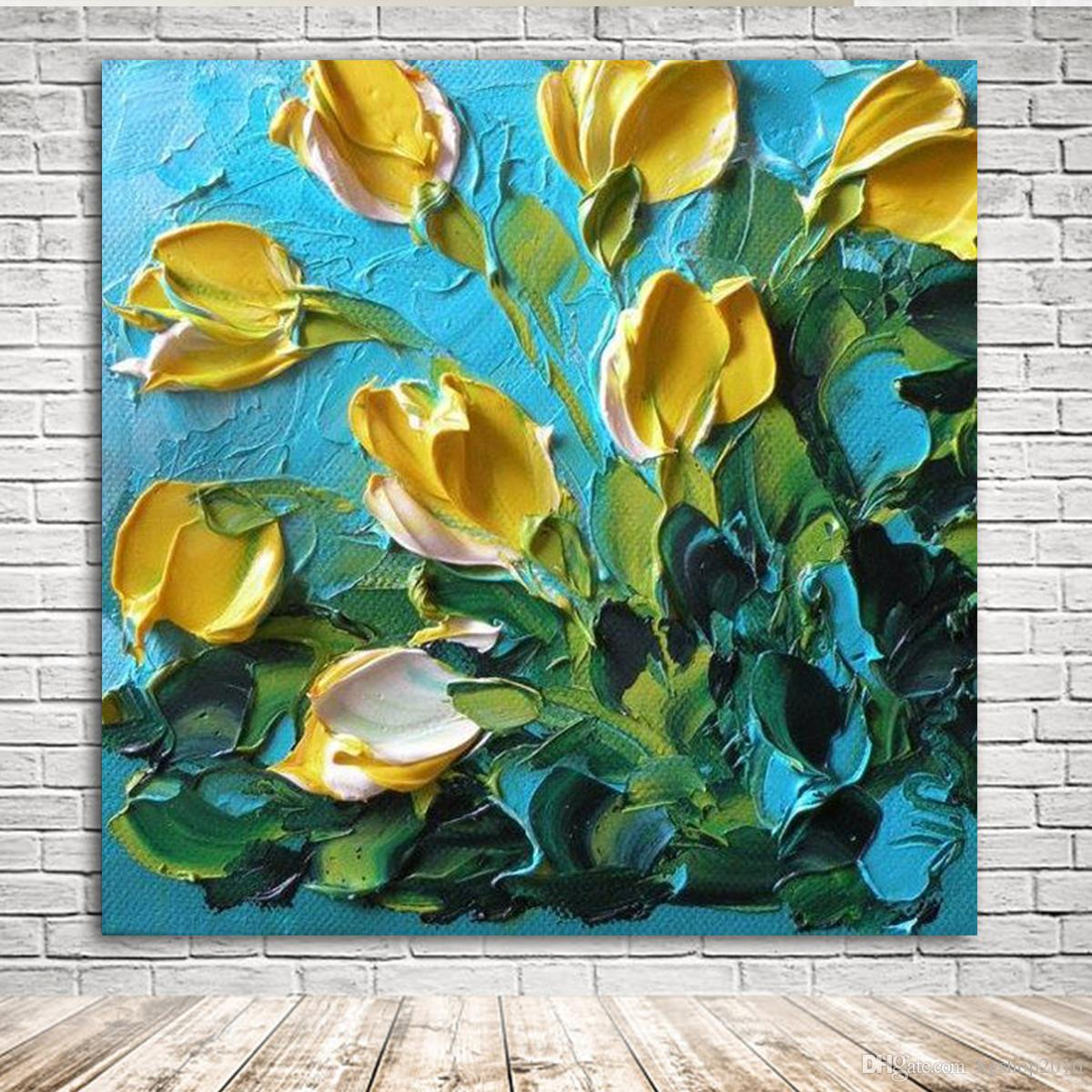 KGTECH 3D Thick Texured Acrylic Painting Yellow Tulip Flowers Wall ...