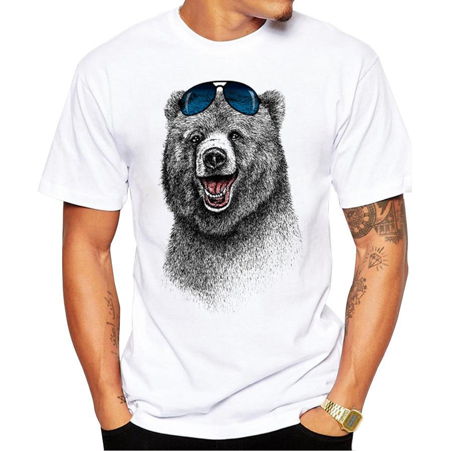 2017 heißer Verkauf Mode Lachender Bär Männer t-shirt kurzarm männer Der Glücklichste Bär Retro Gedruckt T Shirts Lässig Lustige Tops