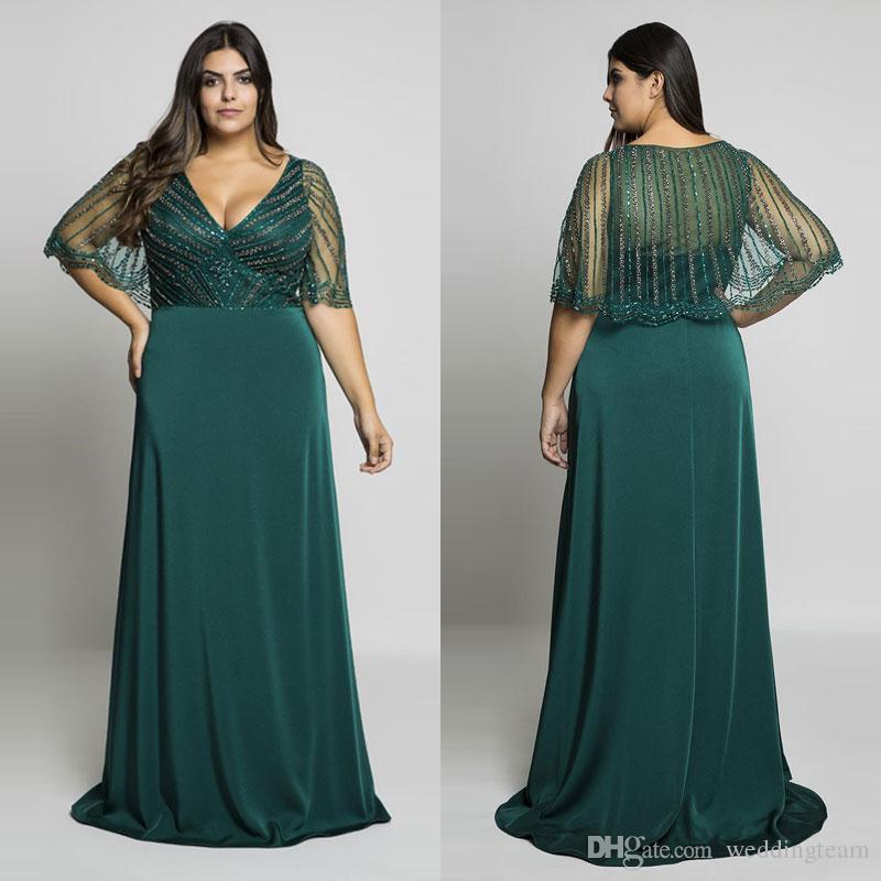 Großhandel Hunter Green Perlen Plus Size Prom Kleider V Ausschnitt ...
