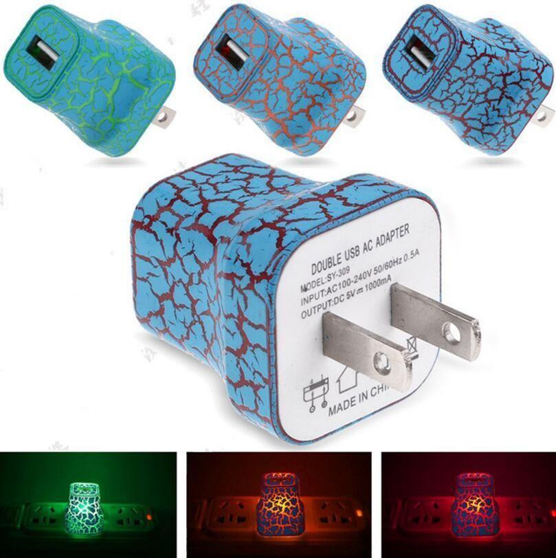 S'allume US Plug chargeur 5V / 1A LED USB pour Voyage à la maison AC mur chargeur de charge adaptateur de puissance fissuré élégant