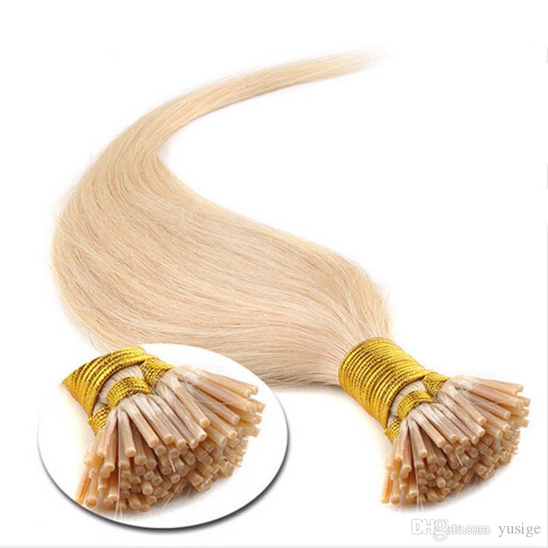 Keratin stick i tip brazilian human hair straight light brown pre-bonded human hair extensions 1g/pcs full head
