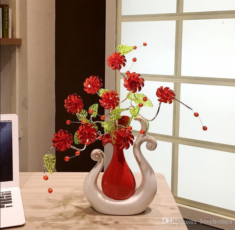Modern Lucky birds 15 Shapes Ceramic Vase for Home Decor Tabletop this pirce is for a set vase and flowers together