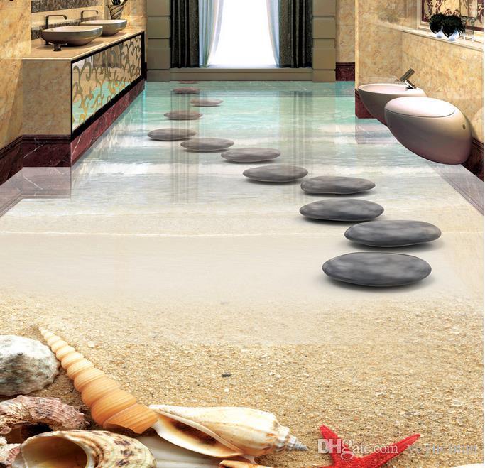 3D напольные фрески индивидуальные 3D стереоскопические обои пляж Морская звезда shell камень самоклеющиеся 3D настил обои фреска