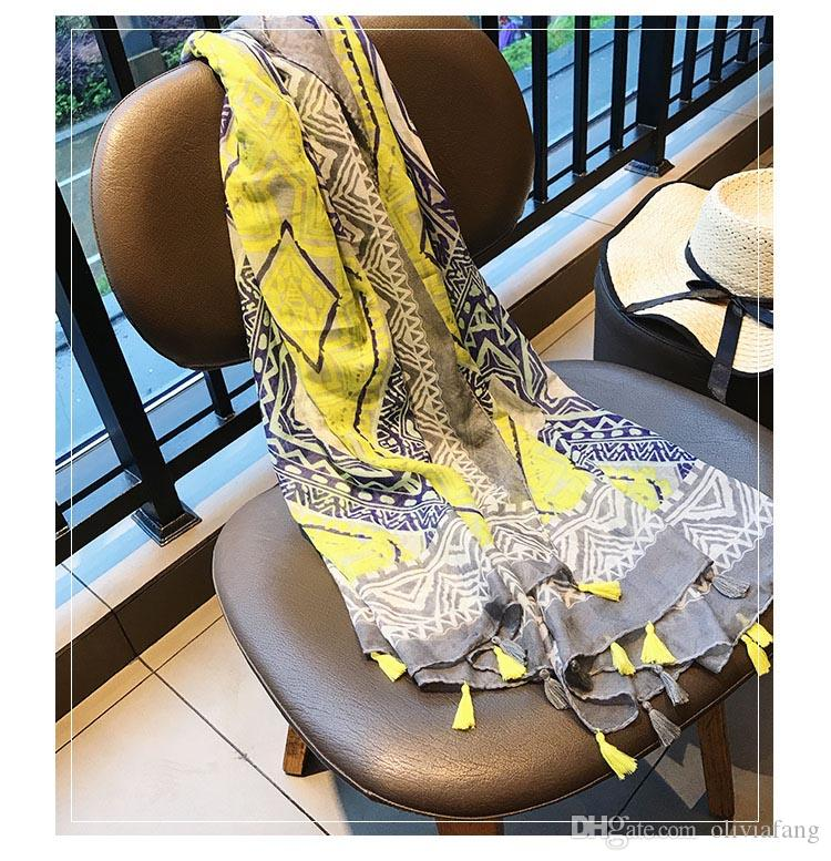 2017 AW Fashion Brand Design Women's Scarves Bright Yellow Cotton Linen Scarfs and shawls Wraps Beach Cover UP Luxury Scarfs HOT
