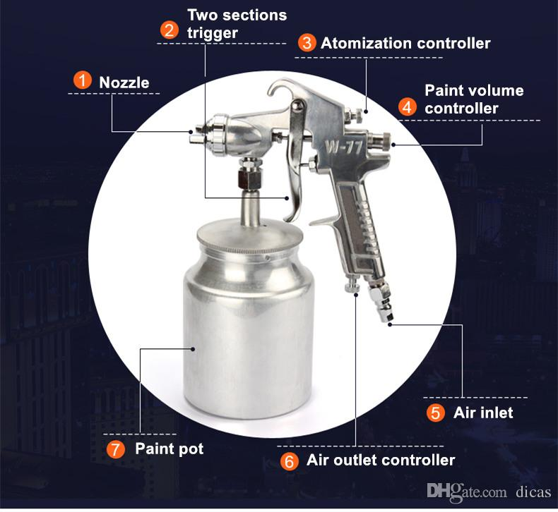 hot selling W-77S pneumatic paint spray gun 2.0mm nozzle high atomization air spraying tools furniture woodworking car coating
