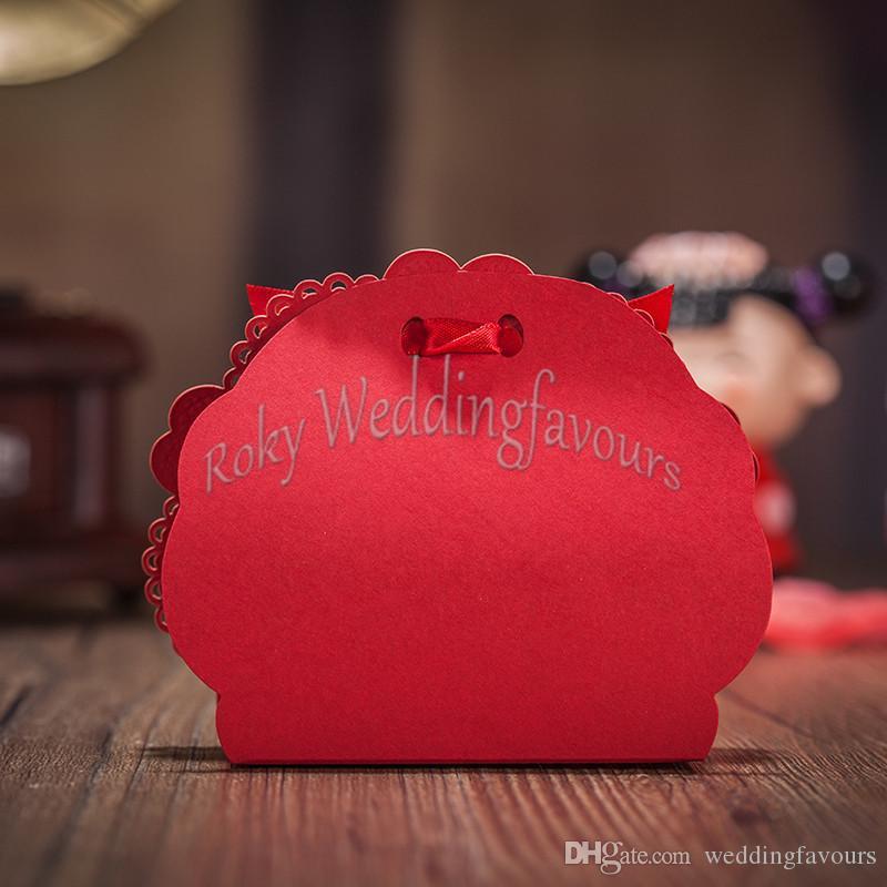 LIVRAISON GRATUITE Découpés Au Laser Rouge Dentelle Boîtes De Fleurs avec Ruban Porte-Boucles D'oreille Faveurs De Mariage Fournitures De Fête Boîtes De Faveur Boîtes De Bonbons