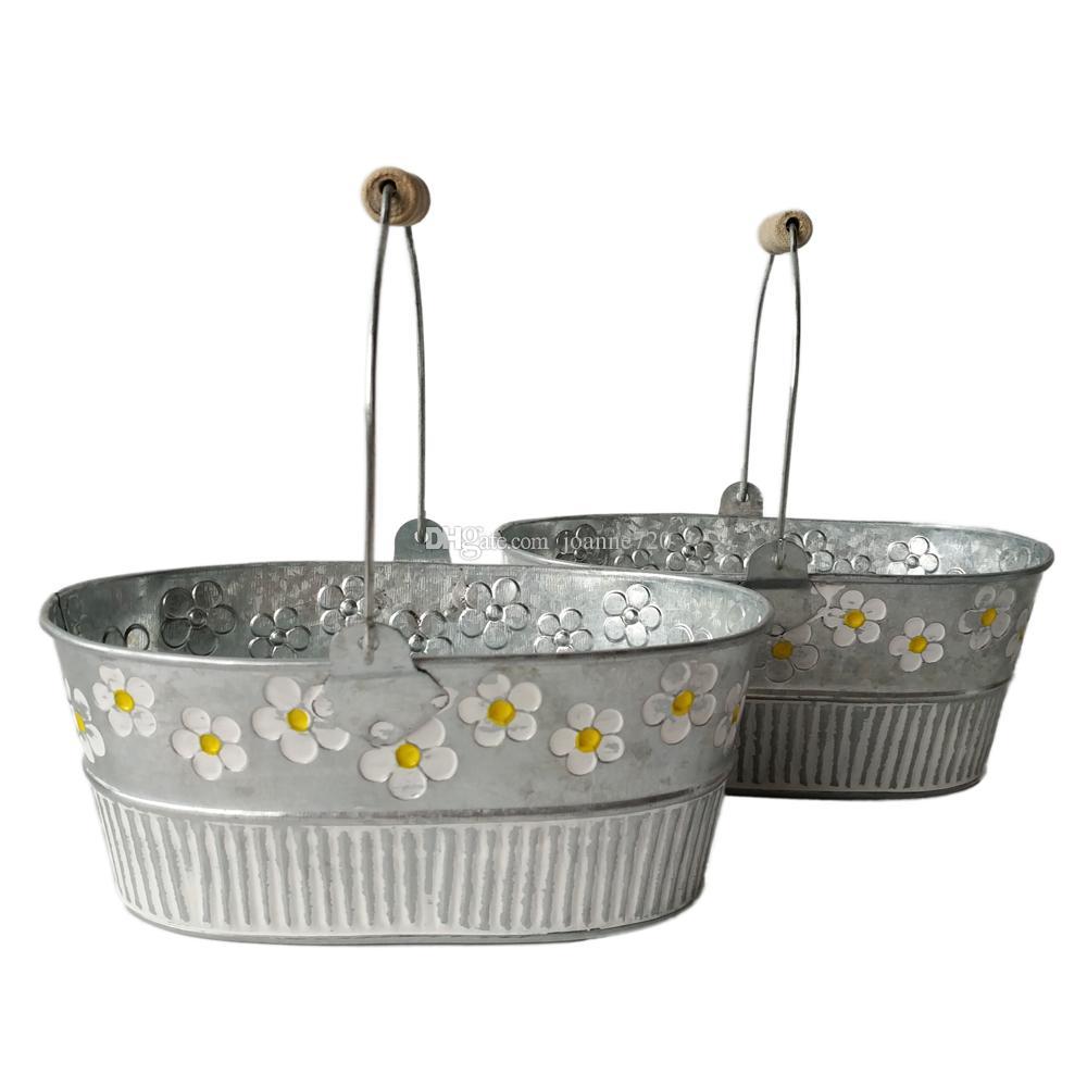 Online Cheap Wholesale Metal Planter Pot Garden Oval Sharp