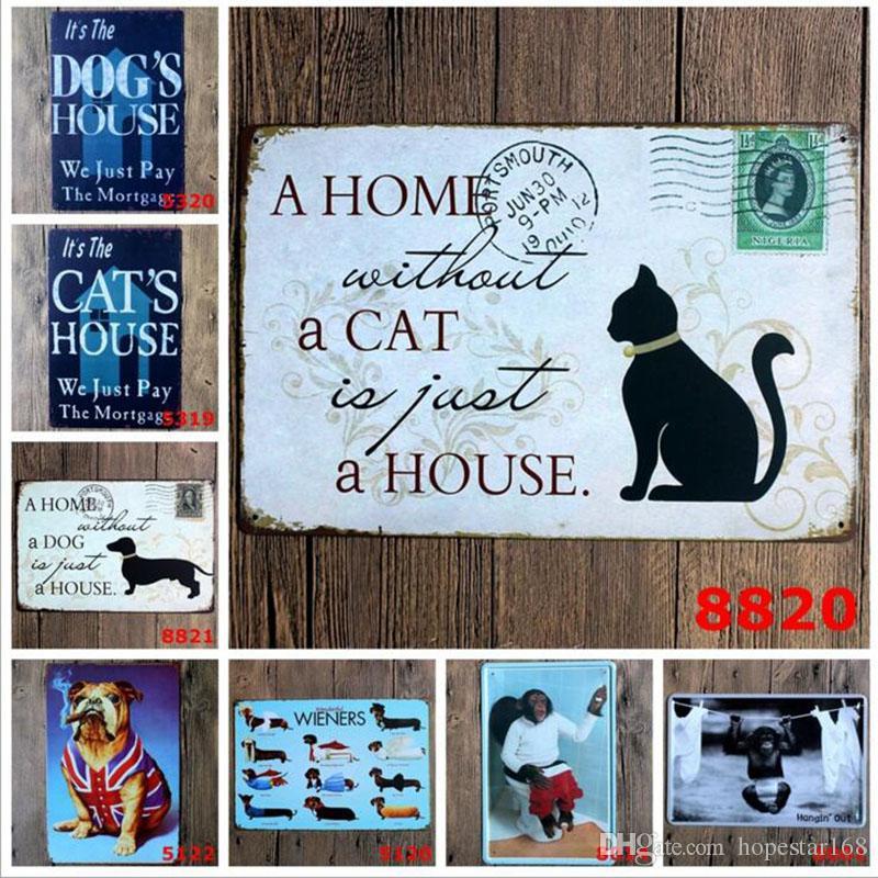 Katze Hund Affe Flamingo Vintage Handwerk Blechschild Retro Metall Malerei Antik Eisen Poster Bar Pub Zeichen Wandkunst Sticke