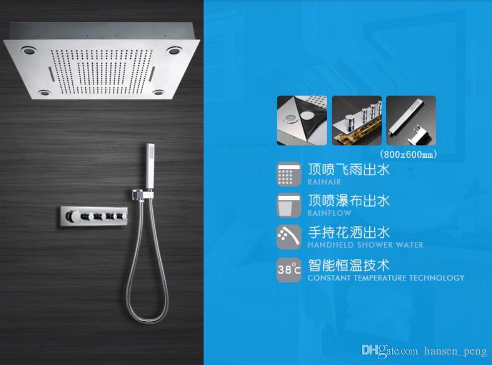 Soffione doccia a pioggia a soffitto intelligente 800X600mm Interruttori termostatici con lampade a LED con doccia modulabile 8006