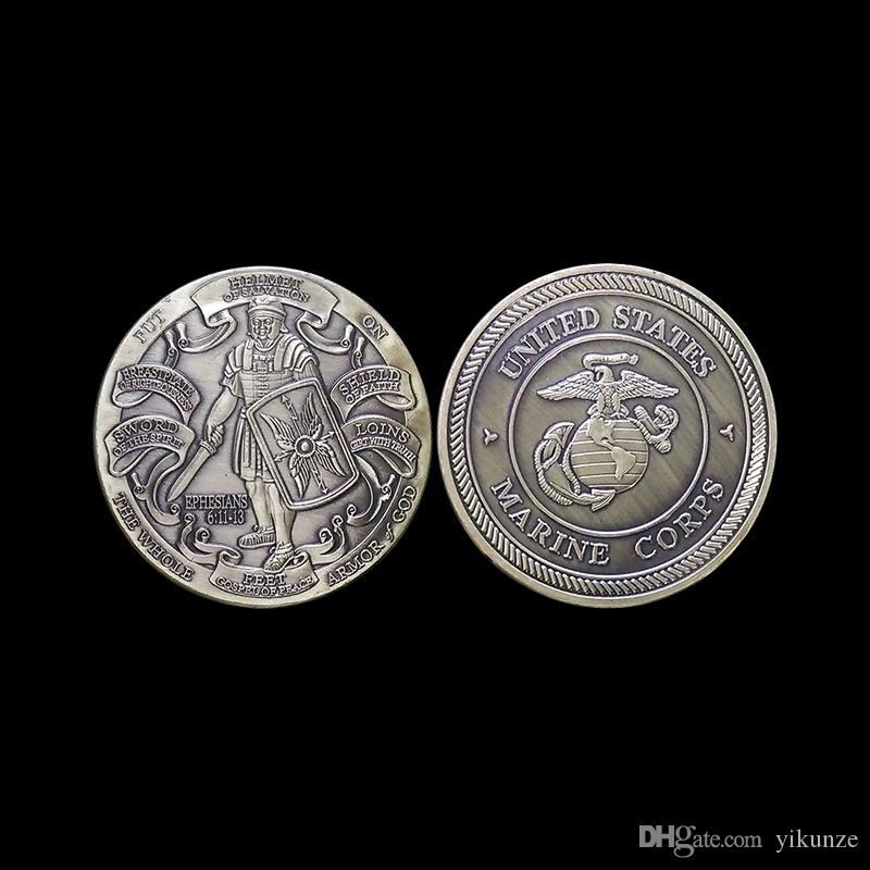 Put on the Whole Armor of God UNITED STATES MARINE CORPS Armor of God Pray Always Military Challenge Coin 6 Designs