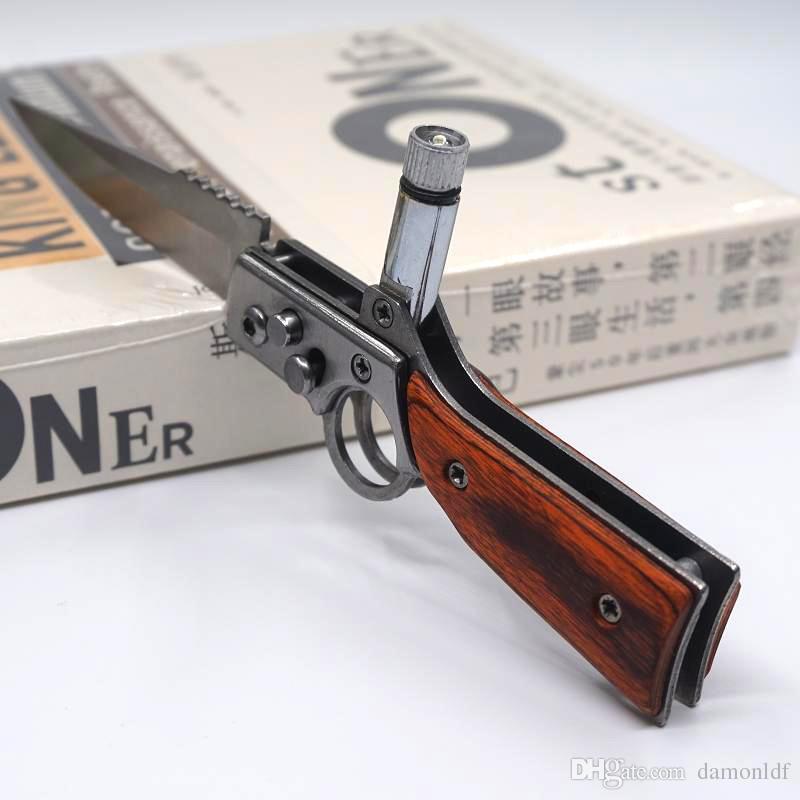 NOVA AK47 RIFLE Gun Shaped Folding Faca S Tamanho 440 Lâmina Pakka Lidar Com Tactical Bolso de Acampamento Ao Ar Livre Facas de Sobrevivência Ao Ar Livre Com Luz LED