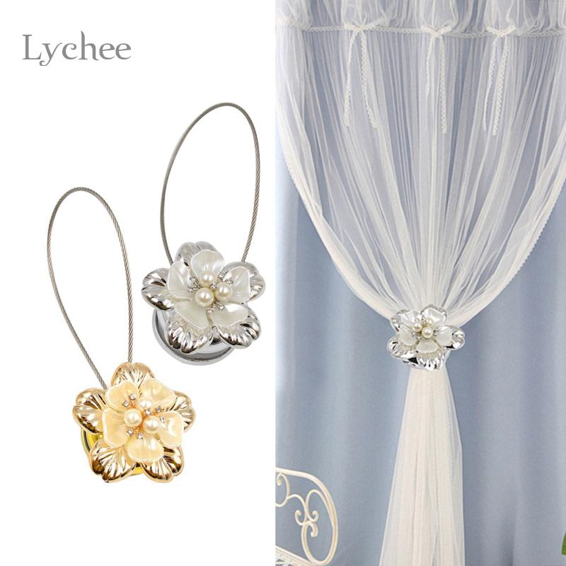 Gold Silver Flower Wire Curtains Tieback Magnet Buckle Magnetic Curtain Holder Strap Accessories