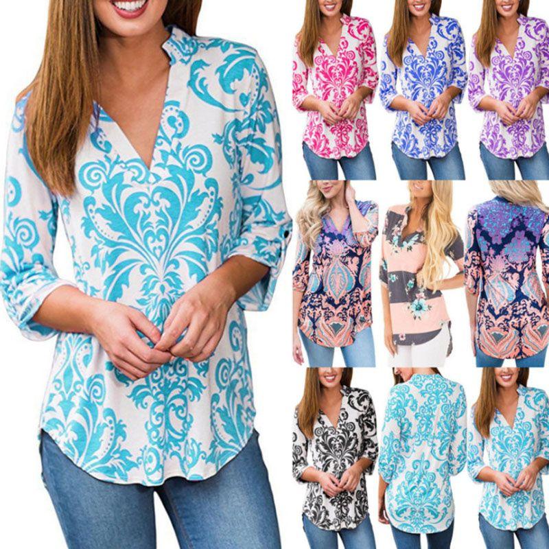 698fbab105de88 Womens Casual Flower Floral Print Tops Ladies Long Sleeved Blouse T Shirt  Shirt Tee T Shirt Slogans Dirty T Shirts From Dress ch