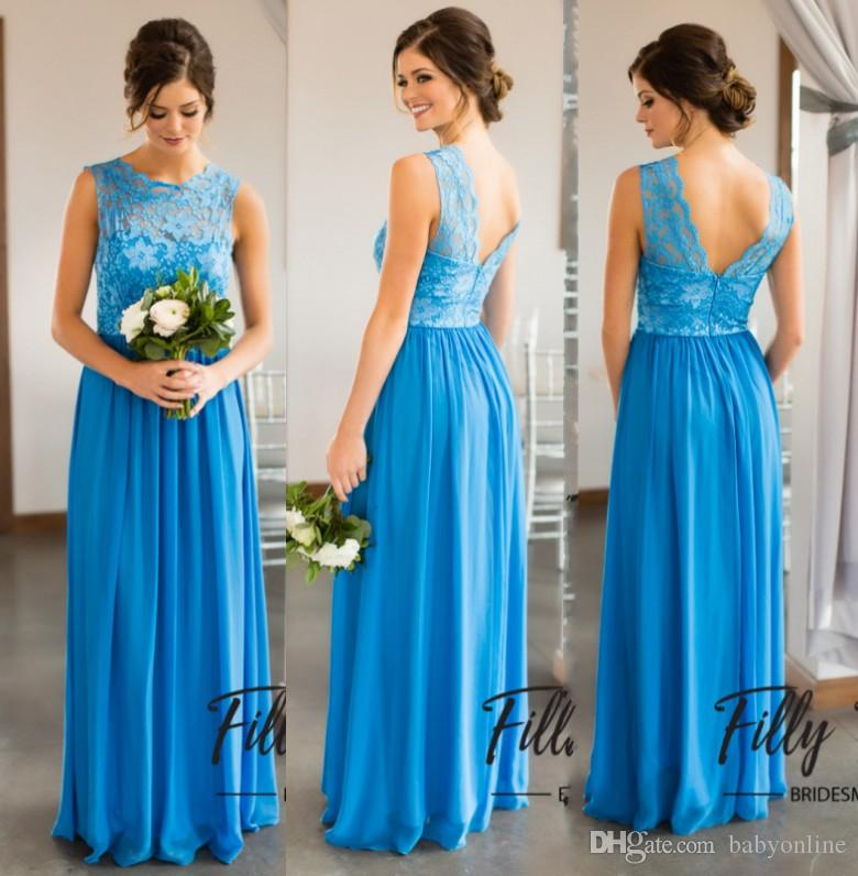 Ocean blue chiffon long bridesmaid dresses for summer for Ocean blue wedding dress