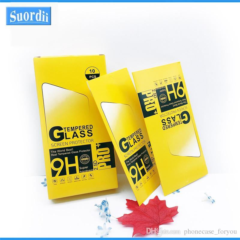 Pantalla paquete al por menor cajas de papel Pantalla prima de los envases de vidrio templado 9H 2.5D para Huawei P8 P9