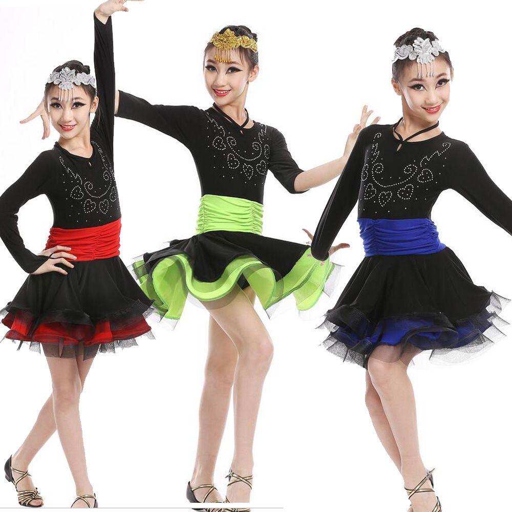 2017 Professional Latin Dance Dress For Girls Rumba Sumba Tassel ...