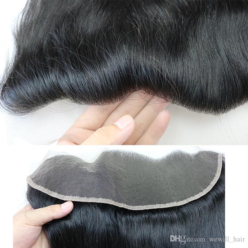Fasci di capelli lisci brasiliani con chiusura trame di capelli umani all'ingrosso con 13x4 chiusura frontale in pizzo estensioni di capelli umani remy Fastyle
