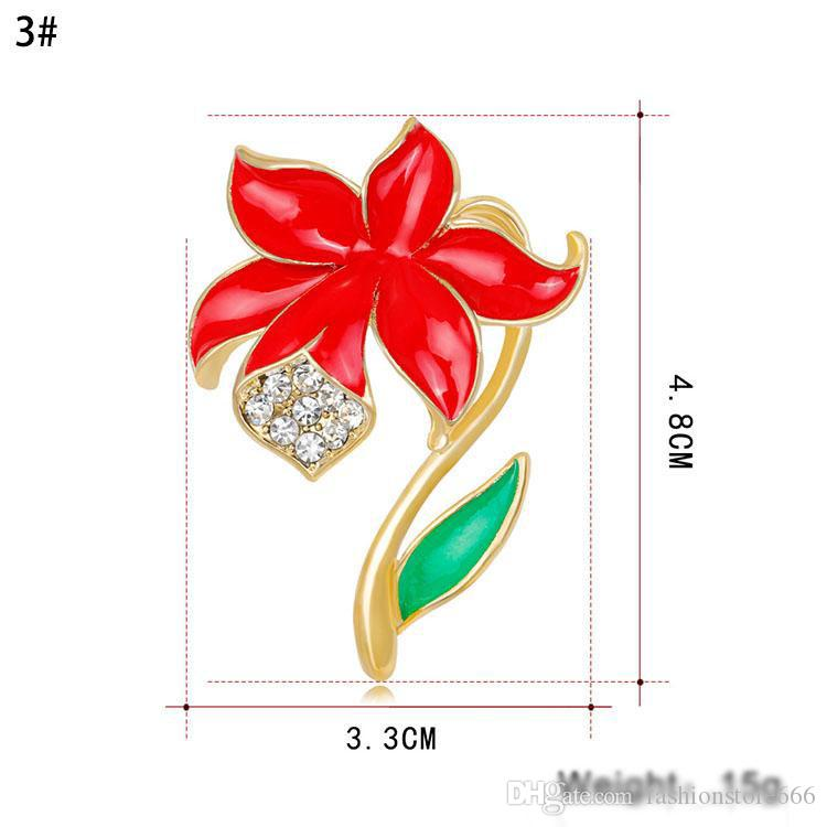 Poppy Broches New Arrival Alloy Strass Broche Broches de Cristal Flor De Poppy Broches Jóias Para As Mulheres Presentes