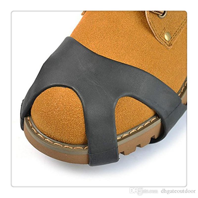 Agarres de hielo sobre la zapatilla Botas Botas Caza Caza Picos de goma Antideslizante 10 Stud Crampones Resbalón Esquí Nieve Senderismo Escalada Estiramiento Calzado