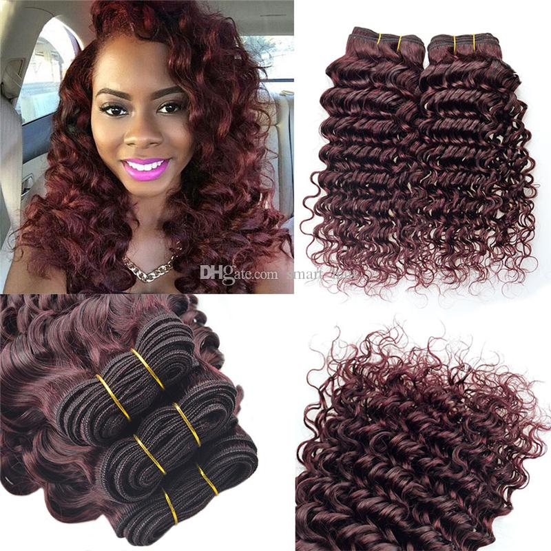 Brazilian Virgin Hair Deep Wave Wine Red Human Hair Extensions