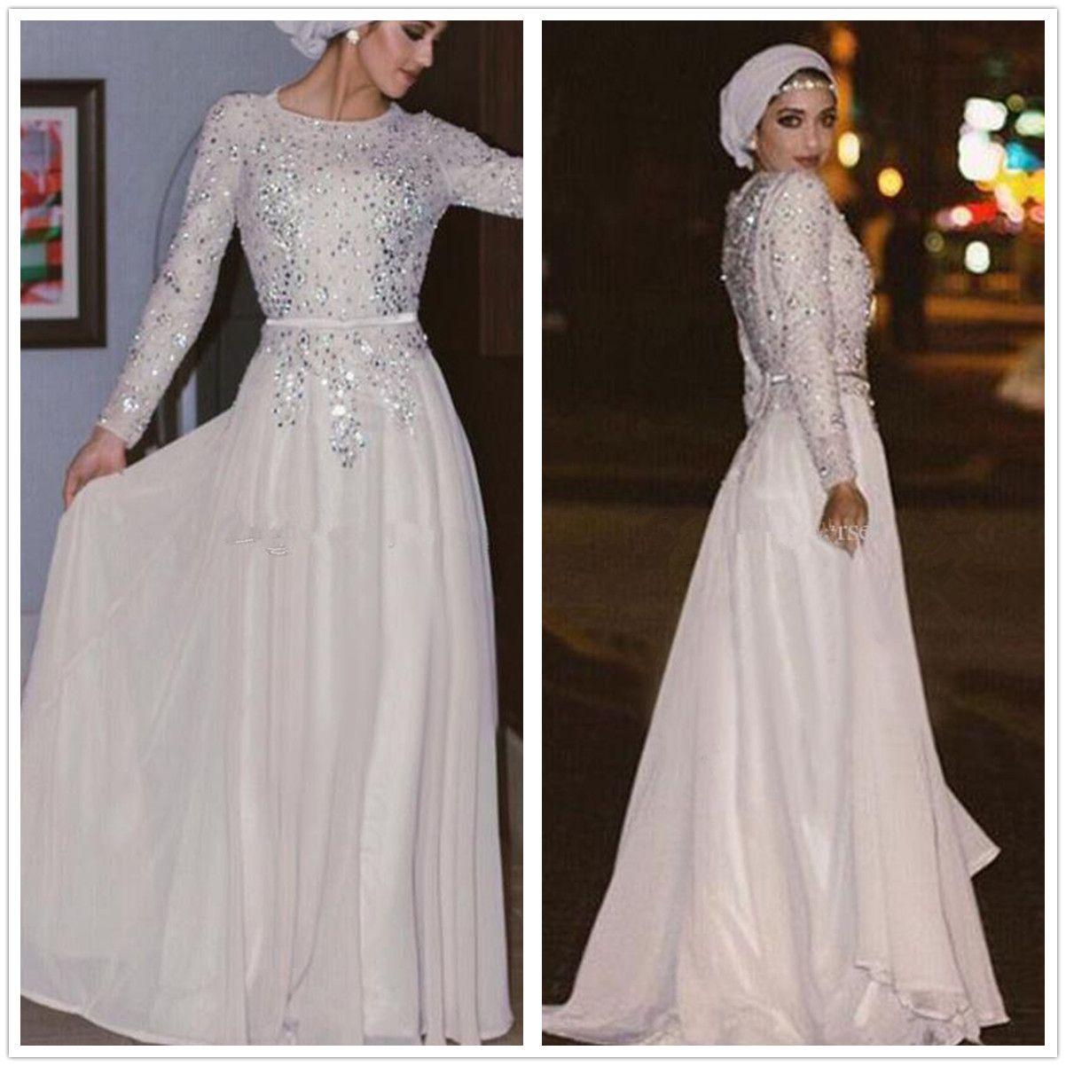 White Long Sleeve Chiffon Cocktail Dresses