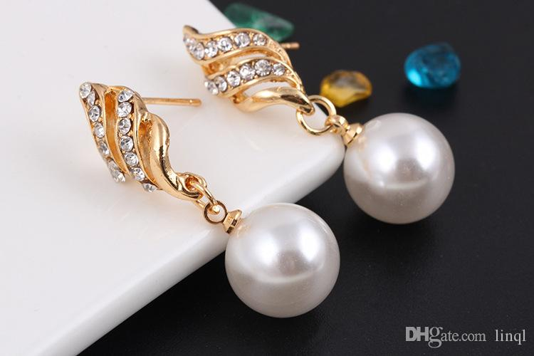 New Alloy Pearl Diamond Necklaces Earrings Jewelry Set Gold White Size 35*9mm 41*11mm Weight 13g