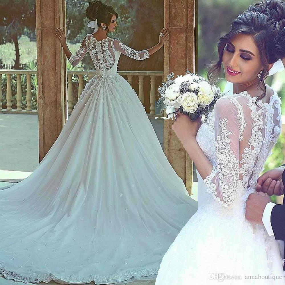 Compre Modest Tulle Jewel Neckline Vestidos De Novia Saudi Arabia ...
