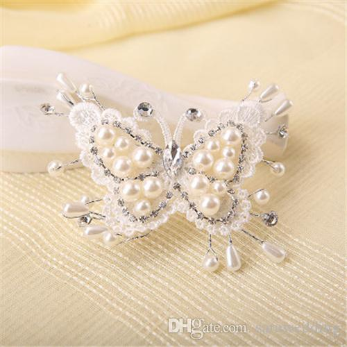 Wedding Bridal Bridesmaid Handmade Butterfly Hair Claws Headdress Pearl Diamond Hair band Hairpin Headdress Hair Jewelry Accessories