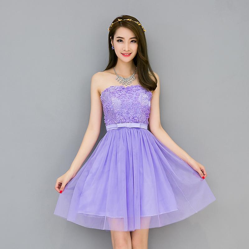 Women\'s A-line Short Mini Sleeveless Strapless Blush Bridesmaid ...