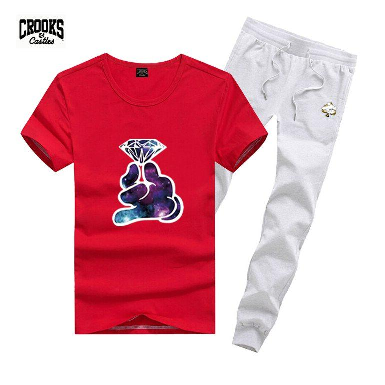 D1988 Free shipping s-5xl Tracksuits new men Leisure Crooks and Castles T-Shirt and long pants suit o-neck Elastic waist